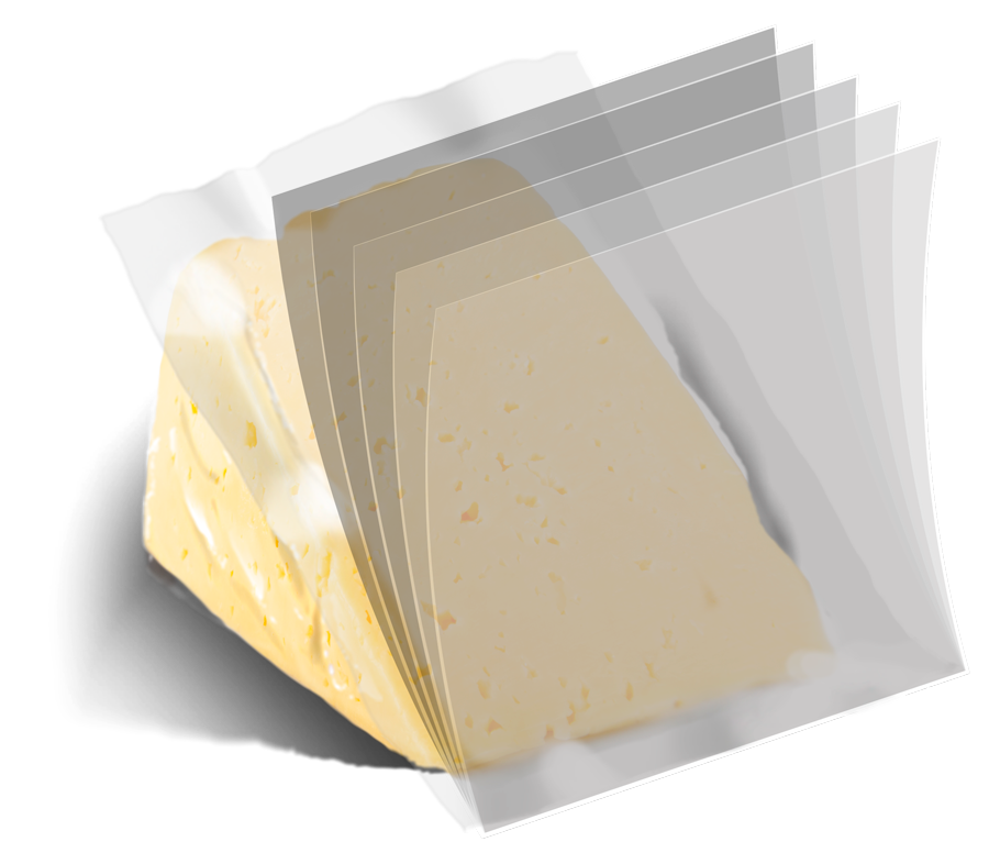 Cheese in a multilayer packaging